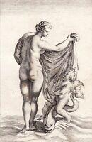 Gravure XVIIIe Vénus Sortant Des Eaux Aphrodite Inanna  Ishtar 1780