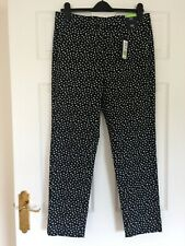 M&S COLLECTION BLACK AND WHITE SLIM COTTON 7/8 TROUSERS UK 12 LONG NEW WITH TAGS