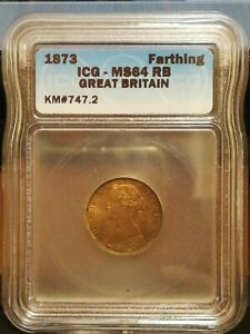 Great Britain Farthing 1873 - MS64 RB