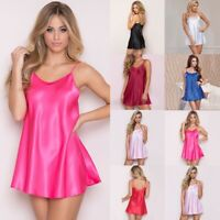 Women Satin Silk Lace Robe Dress Sleepwear Lingerie Nightdress Nightgown Chemise