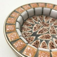 "Vintage Modern Art Mosaic Small Jewelry or Trinket Dish  3 3/4"""