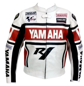 YAMAHA R1 RED MOTORBIKE TRACK DAYS COWHIDE LEATHER CE PROTECTORS JACKET