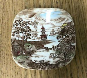 Vintage Johnson Bros Square Butter / Trinket Dish - Japanese Scene