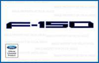 2018 Ford F150 Tailgate Insert Decals Letters Stickers - Black Outline Blue FBLU