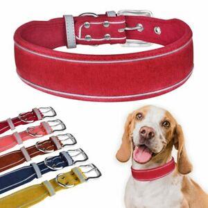 4cm 5cm Reflective Dog Collar Medium Large Suede Fabric Dog Collars Adjustable