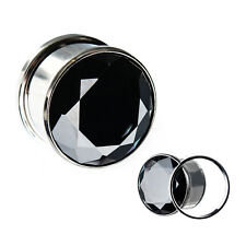 "PAIR-Super Black CZ Gem Steel Screw On Ear Plugs 14mm/9/16"" Gauge Body Jewelry"