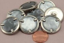 """8 Silver Tone Metal Back & Grey Pearlized Plastic Front Buttons 1"""" 25MM # 6334"""