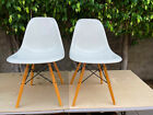 EAMES Case Study Side Shell Chair White Fiberglass Dowel Legs by MODERNICA Pair