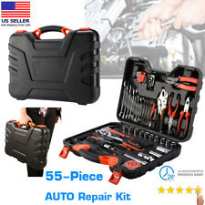 55-Piece Tool Set & Case Auto Car Home Repair Kit SAE Metric LIFETIME FEDEX USA