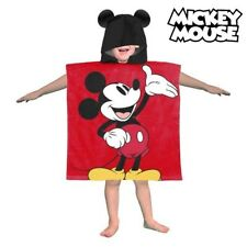 Mickey Mouse Disney Kids Hooded Poncho Children Bath Beach Pool Towel Red