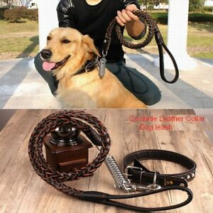 Medium large dog Dog leash Leather collar Hyena rope Dog chain