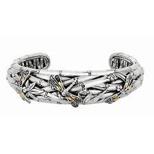 Phillip Gavriel 18k Gold 925 Silver Narrow Bamboo Dragonfly Bangle Bracelet
