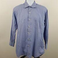 Robert Talbott Carmel Blue Houndstooth L/S Dress Button Shirt Sz 16 1/2-35 L