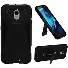 For Motorola Droid Turbo 2 Rugged Hybrid Hard Armor Impact Stand Case Black