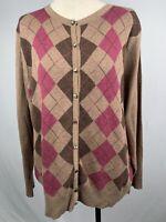 Croft & Barrow Womens 1X Cardigan Button Down Cotton Long Sleeve Diamond Pattern