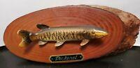 Vintage 1950's Napco Faux Mounted Pickerel Fish on Wood Slab Japan  9 x 3.5 RARE