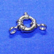8MM 14k Solid White Gold Designer Italy Spring Ring Clasp CLOSED