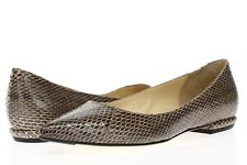 MARVIN K. Womens Snake Print Leather Pointy Toe Flat Shoes Sz 6