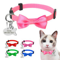 Personalized Puppy Dog Kitten Cat Collar Breakaway Bowtie & Tag Quick Release