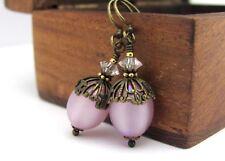 Lilac Earrings Vintage MOONGLOW BEADED FILIGREE Victorian DANGLE DROPS BRASS