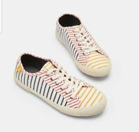 Joules Ladies Hotch potch stripe Coast Pump Canvas Lace Up Trainers