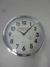 "London Clock Company ""The Stirling"" Station Collection Chrome Wall Clock 30cm"