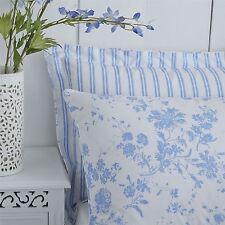 FLORAL TOILE STRIPE BLUE WHITE 144 TC PIPED HOUSEWIFE PILLOWCASE PAIR50X75CM