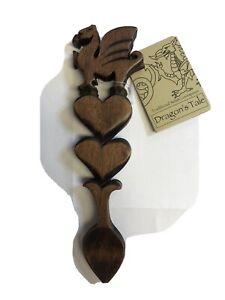 DOUBLE HEART & DRAGON design polished dark wood WELSH LOVE SPOON,  Wales / Cymru