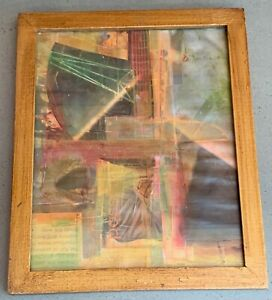 Vintage 90s Mixed Media Collage Decoupage Art Wall Hanging VanKleef Modern Art 2