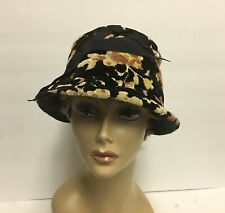 Vintage Womens Tapestry Wire brimed Cloche Hat