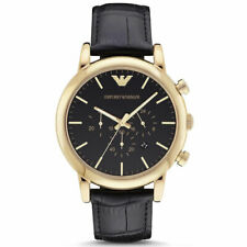 Emporio Armani Luigi Men's AR1917 Cronograph Black Leather Strap Watch