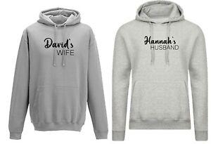 Personalised Customized Names Couple Matching Hoodies Hoody Hood Wedding Married