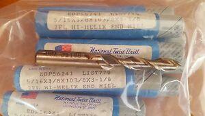 """NEW National Twist Drill Lot of 9 End Mills 2 Flute  5/16"""" dia x 3/8 x 3 1/8"""""""