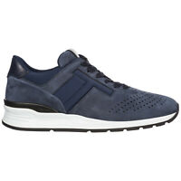 TOD'S MEN'S SHOES LEATHER TRAINERS SNEAKERS NEW BLUE DE2
