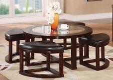 Acme 5Pc Pk Coffee Table & Ottoman-W/P2 - Espresso Finish Patia Collection 80187