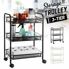 3-Tier Kitchen Rolling Trolley Storage Shelve Holder Rack Organiser Wheels