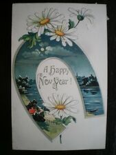 POSTCARD HAPPY NEW YEAR - HORSE SHOW - FLOWERS 1900'S