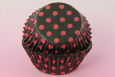 100x, 2'' Cupcake Liners, Baking Cups, Black Red Polka Dot, Standard Size