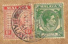Malaya Negri Sembilan WW2 cover with Straits KGVI 2c green