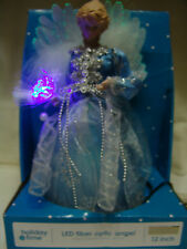 """CHRISTMAS BLUE FIBER OPTIC ANGEL 12"""" TALL ELECTRICAL TREE TOPPER FREE SHIPPING"""
