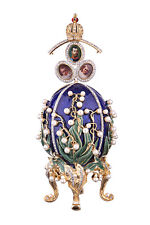 Decorative Faberge Egg Flowers & Russian Emperor's Crown photo frames 6.3'' blue