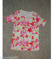 Womens Tee Shirt WHITE STAG Pink Red Green Floral S 4-6 SHORT SLEEVE