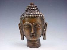 Antique Fine Brass Crafted Shakyamuni Buddha Head Sculpture #07301807