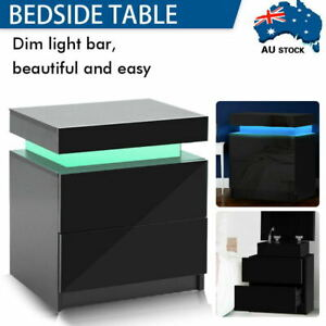 RGB LED Bedside Tables Side Table Drawers High Gloss Nightstand 2 Drawers Black