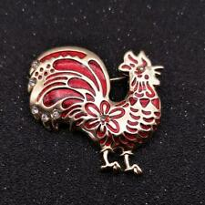 CG2956...ENAMELLED & RHINESTONE COCKEREL BROOCH - FREE UK P&P