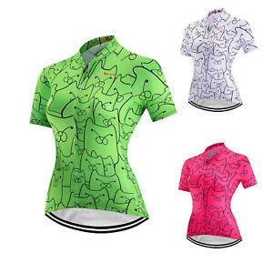 Green Women Cycling Jersey Short Sleeve Bike Shirt Bicycle Riding Clothing Tops