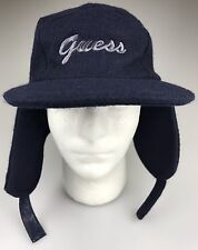 GUESS Blue WOOL Ear Flap Brim Insulated Winter Hat Cap 59 cm