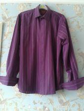 """Mens Purple Stripe Smart Formal Skirt Double Cuff - Size 15.5"""""""