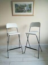 2 Ikea Folding Franklin Bar Stools, VGC Grey Frame White Veneer Seat Tall Chairs