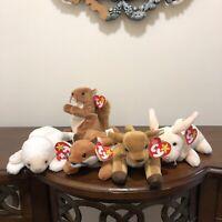 "TY Beanie Babies Lot 5 ""Fleec"", ""Nuts"", ""Sly"", ""Whisper"", & ""Nibbler"""